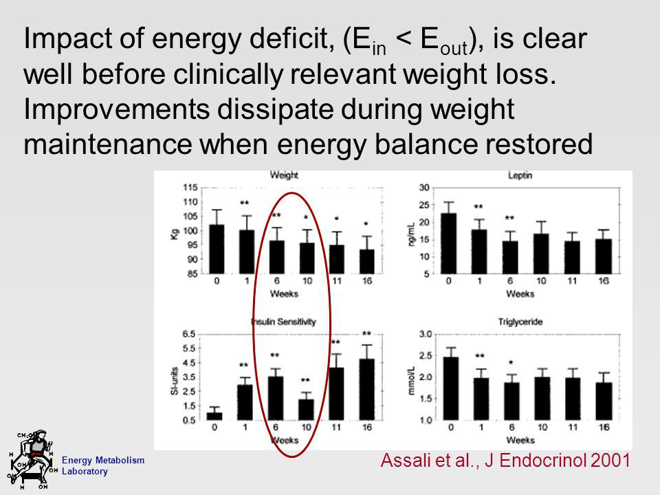 Energy Metabolism Laboratory H H OH CH 2 OH H OH H Impact of energy deficit, (E in < E out ), is clear well before clinically relevant weight loss. Im