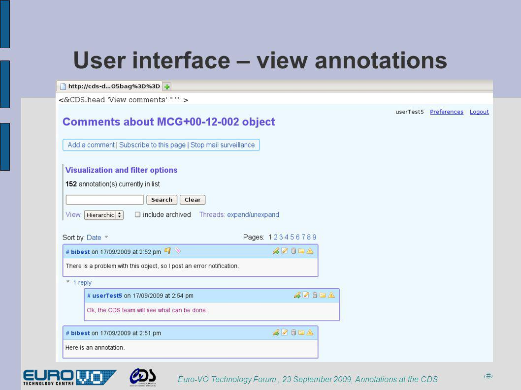 12 Euro-VO Technology Forum, 23 September 2009, Annotations at the CDS User interface – view annotations
