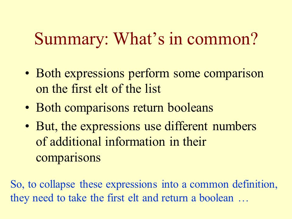 Summary: Whats in common.