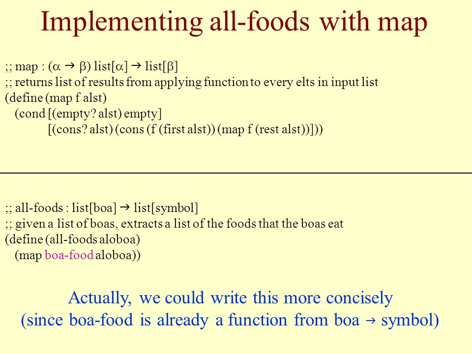 Implementing all-foods with map ;; map : ( ) list[ ] list[ ] ;; returns list of results from applying function to every elts in input list (define (map f alst) (cond [(empty.
