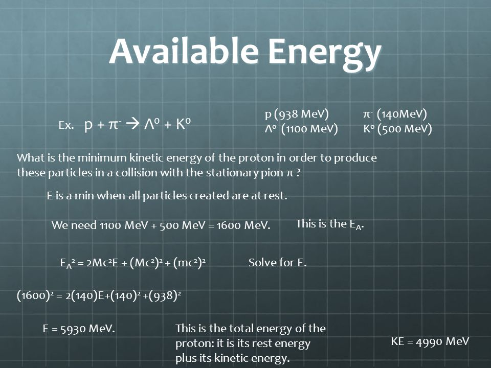 Available Energy Ex. p + π - Λ 0 + K 0 p (938 MeV)π - (140MeV) Λ 0 (1100 MeV)K 0 (500 MeV) What is the minimum kinetic energy of the proton in order t