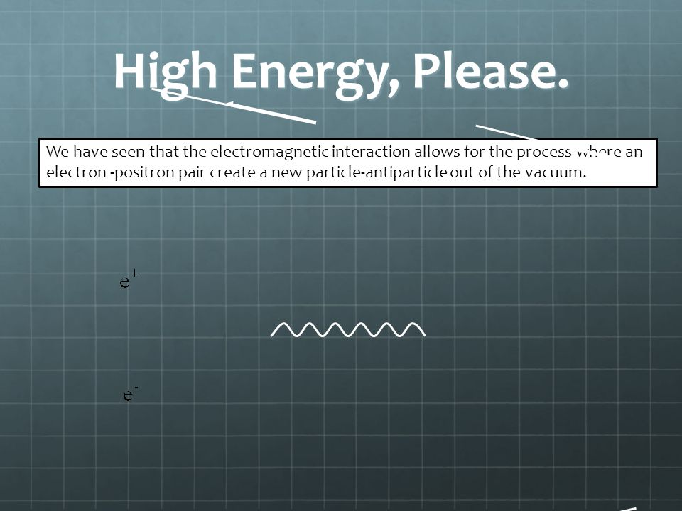 High Energy, Please. We have seen that the electromagnetic interaction allows for the process where an electron -positron pair create a new particle-a