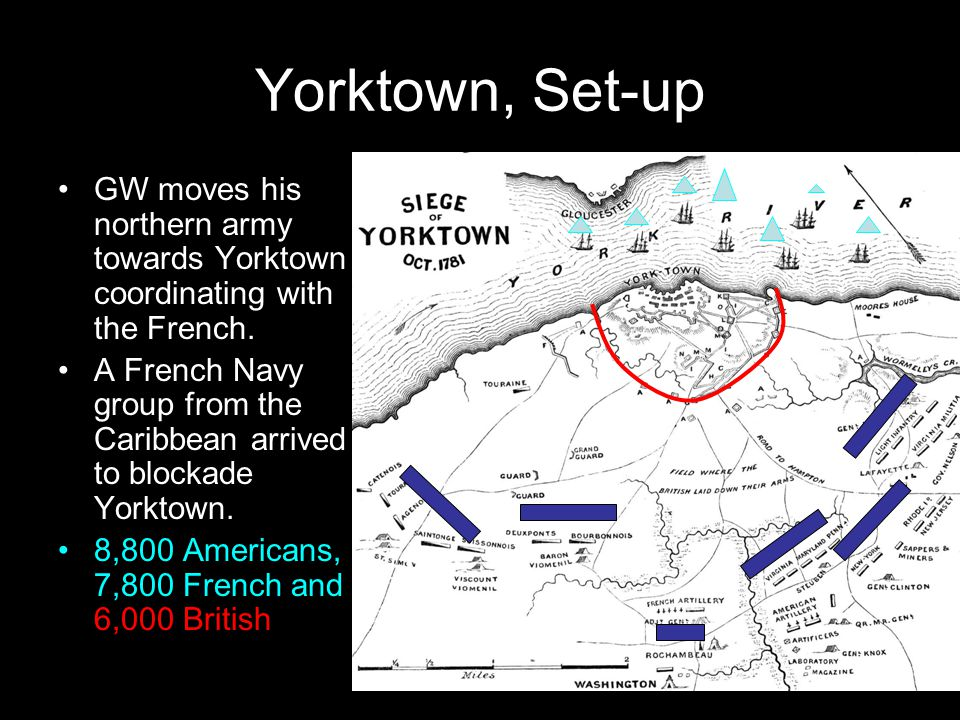 Yorktown, Set-up GW moves his northern army towards Yorktown coordinating with the French.