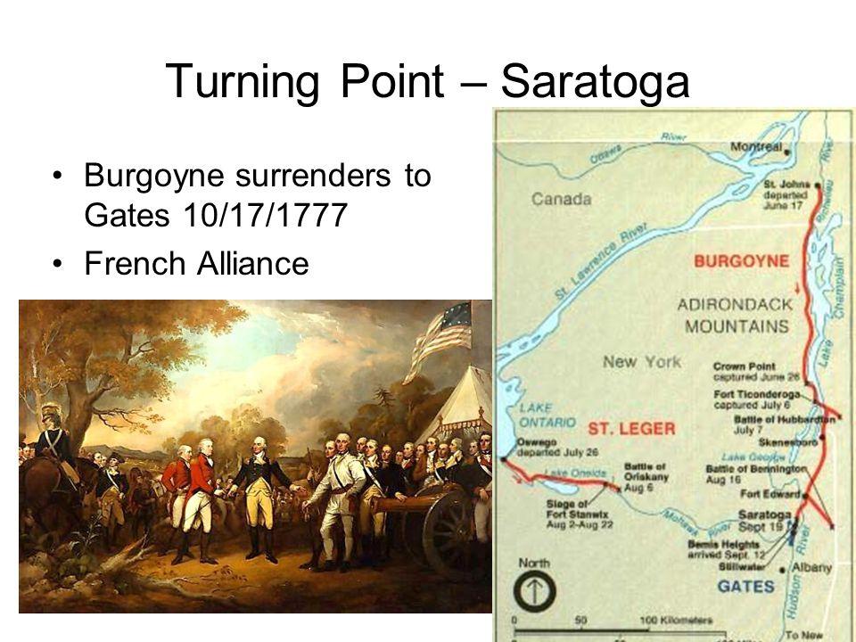 Turning Point – Saratoga Burgoyne surrenders to Gates 10/17/1777 French Alliance