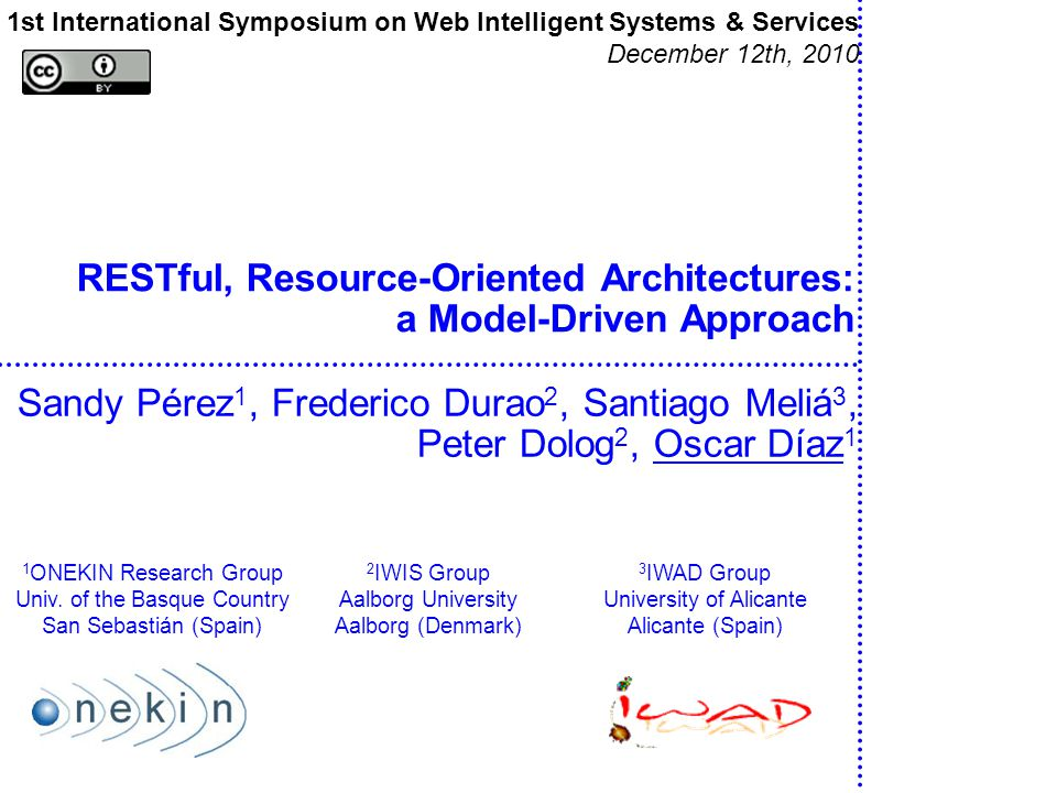 RESTful, Resource-Oriented Architectures: a Model-Driven Approach Sandy Pérez 1, Frederico Durao 2, Santiago Meliá 3, Peter Dolog 2, Oscar Díaz 1 1st
