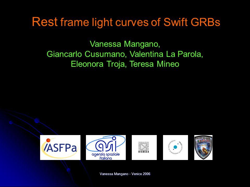 Vanessa Mangano - Venice 2006 Rest frame light curves of Swift GRBs Vanessa Mangano, Giancarlo Cusumano, Valentina La Parola, Eleonora Troja, Teresa Mineo