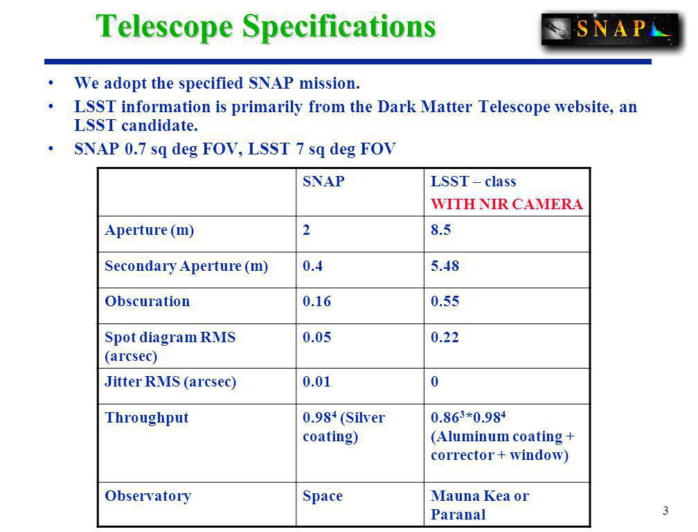 3 Telescope Specifications We adopt the specified SNAP mission.