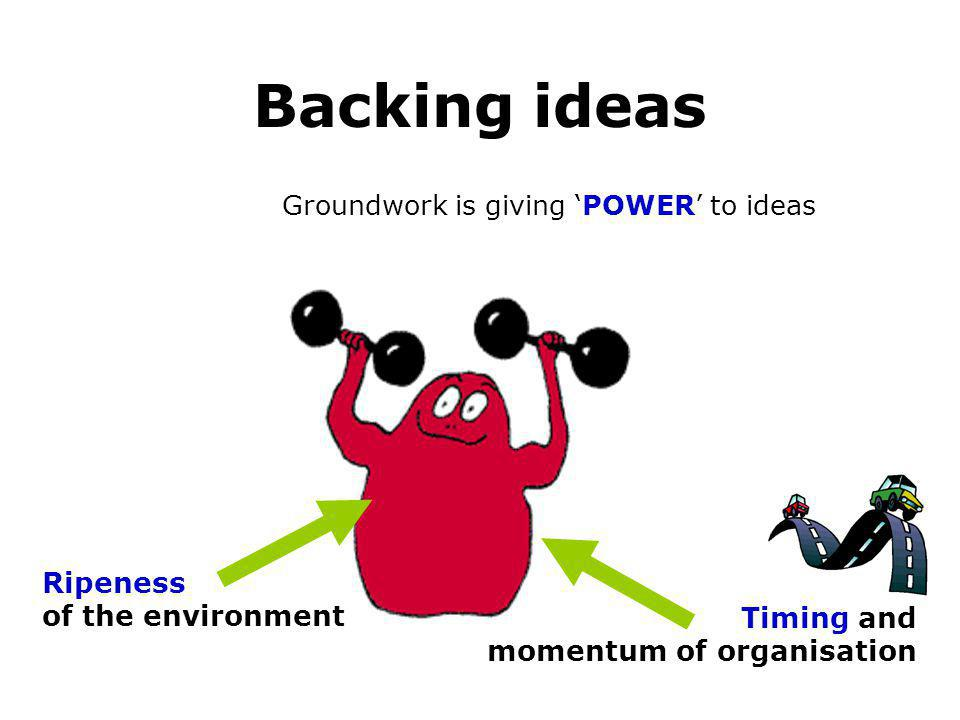 Backing ideas Groundwork is giving POWER to ideas Ripeness of the environment Timing and momentum of organisation Systems, management and change