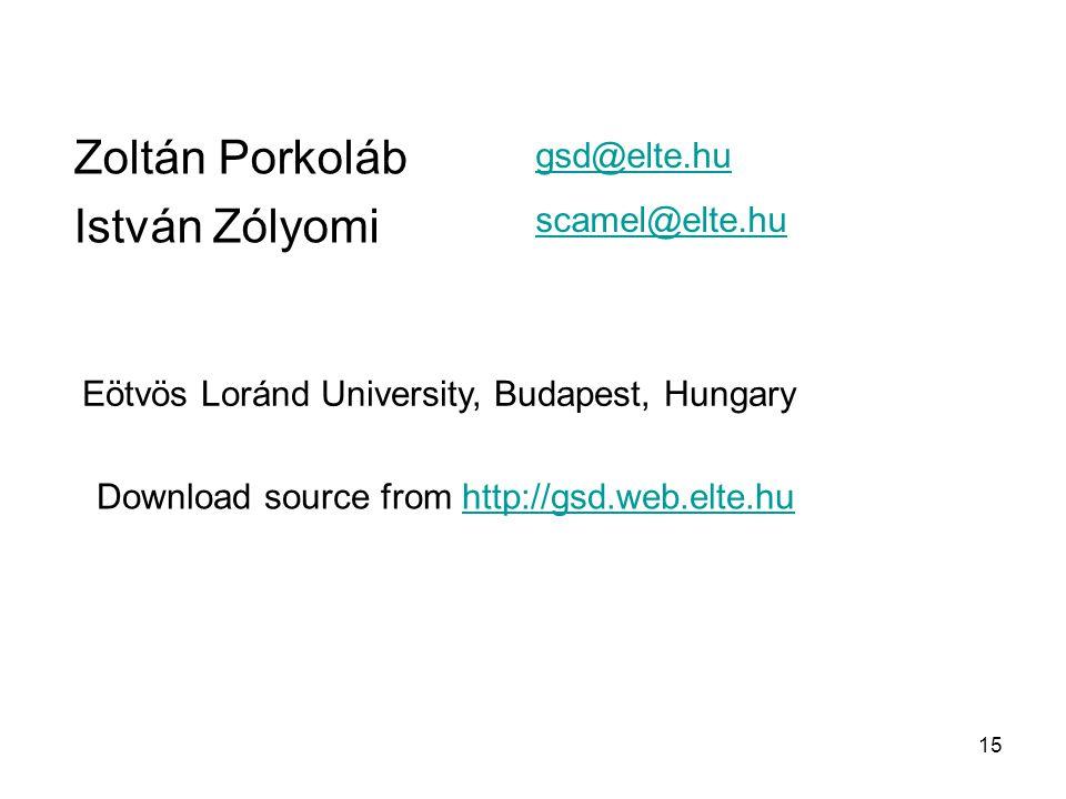 15 Zoltán Porkoláb István Zólyomi Eötvös Loránd University, Budapest, Hungary gsd@elte.hu scamel@elte.hu Download source from http://gsd.web.elte.huht