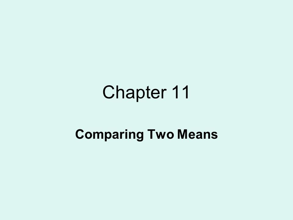 Chapter 11 Comparing Two Means