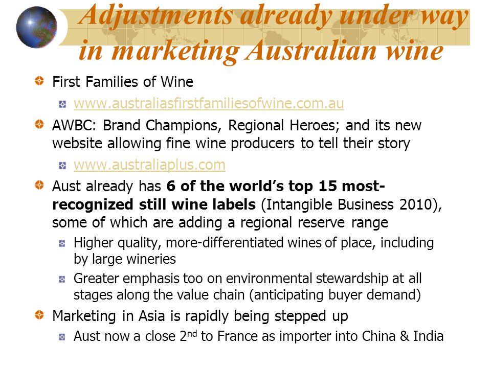 Adjustments already under way in marketing Australian wine First Families of Wine www.australiasfirstfamiliesofwine.com.au AWBC: Brand Champions, Regi
