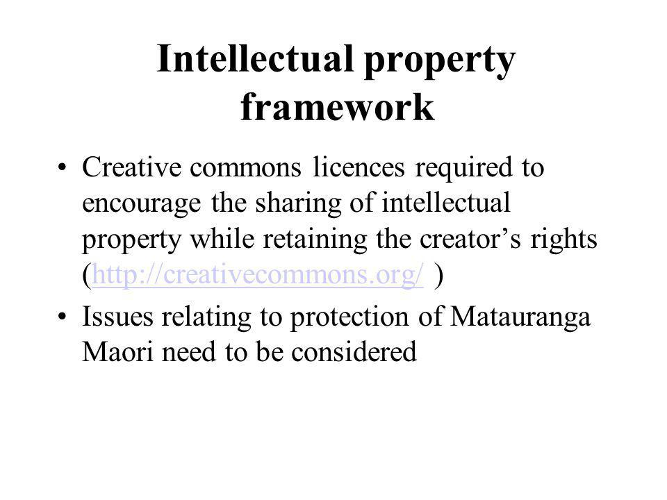 Intellectual property framework Creative commons licences required to encourage the sharing of intellectual property while retaining the creators rights (http://creativecommons.org/ )http://creativecommons.org/ Issues relating to protection of Matauranga Maori need to be considered