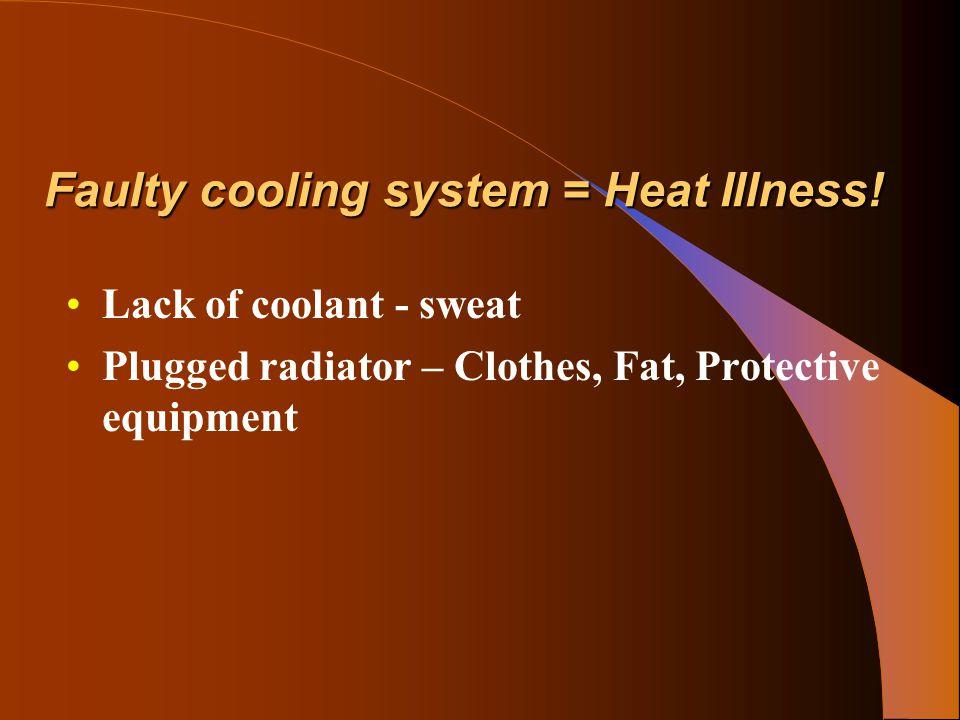 Environmental Risk Factors High TemperaturesHigh Temperatures Radiant heatRadiant heat Conductive heatConductive heat Air movementAir movement Activity – severity and durationActivity – severity and duration High HumidityHigh Humidity