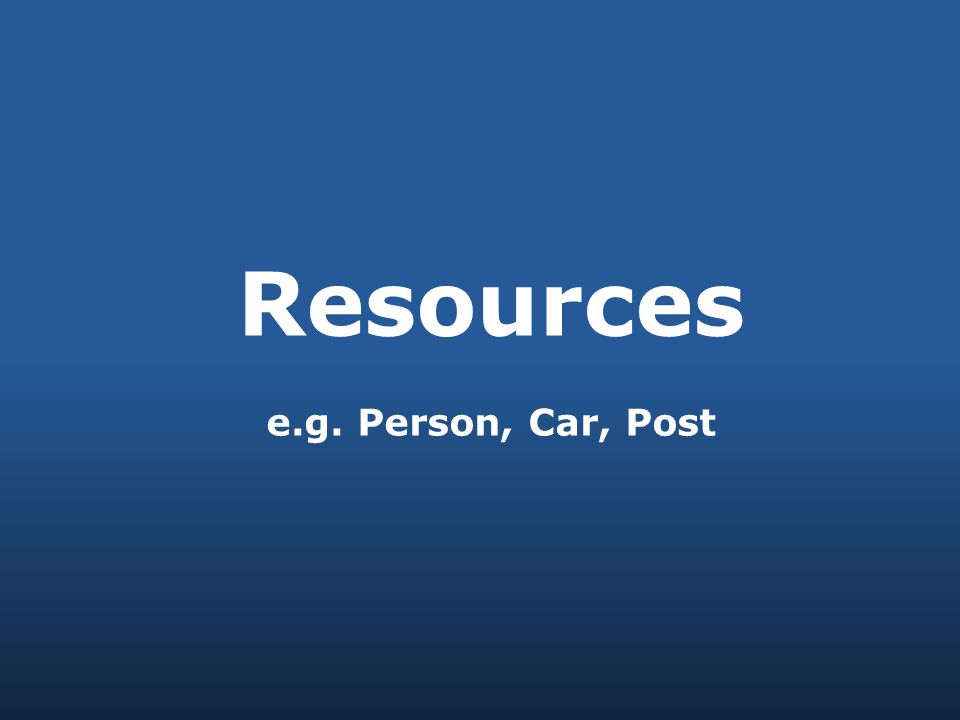 Resources e.g. Person, Car, Post