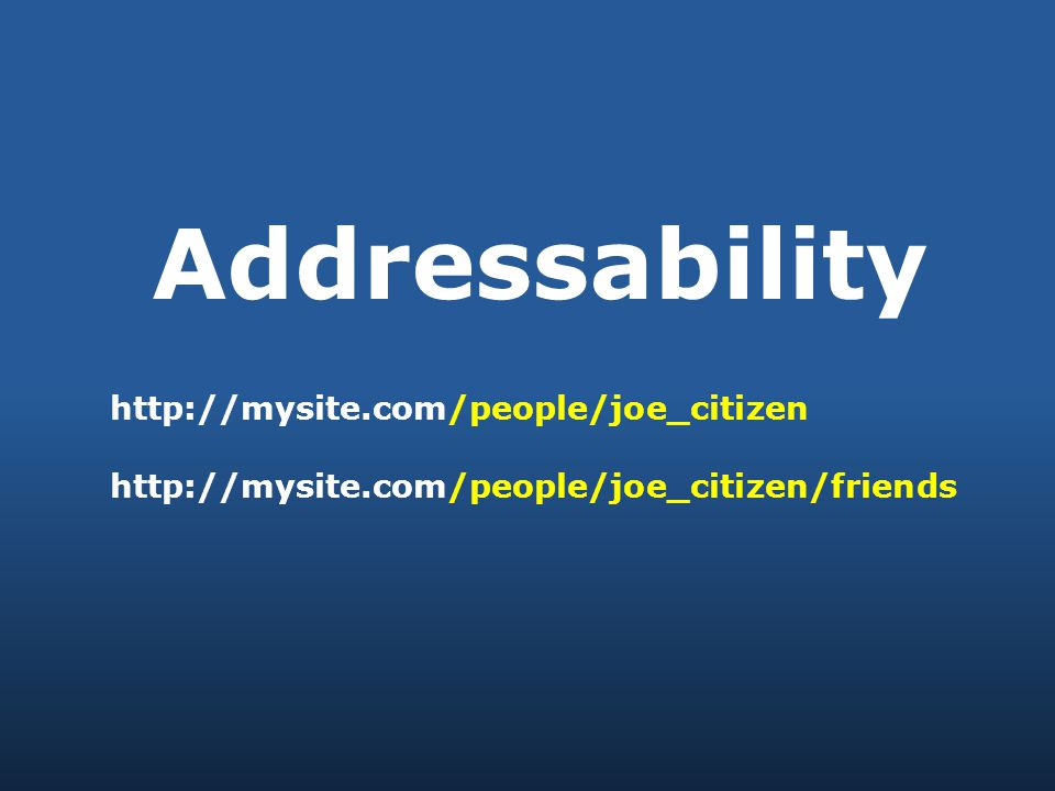Addressability http://mysite.com/people/joe_citizen http://mysite.com/people/joe_citizen/friends