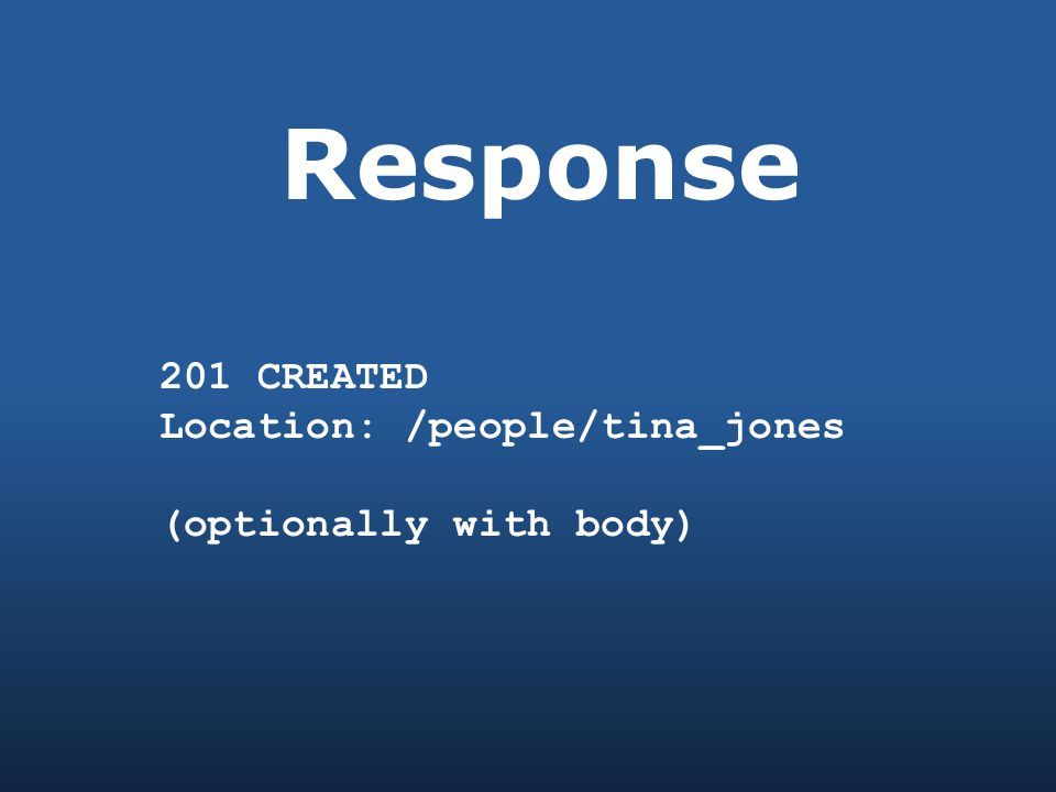 Response 201 CREATED Location: /people/tina_jones (optionally with body)