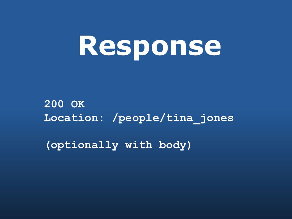 Response 200 OK Location: /people/tina_jones (optionally with body)