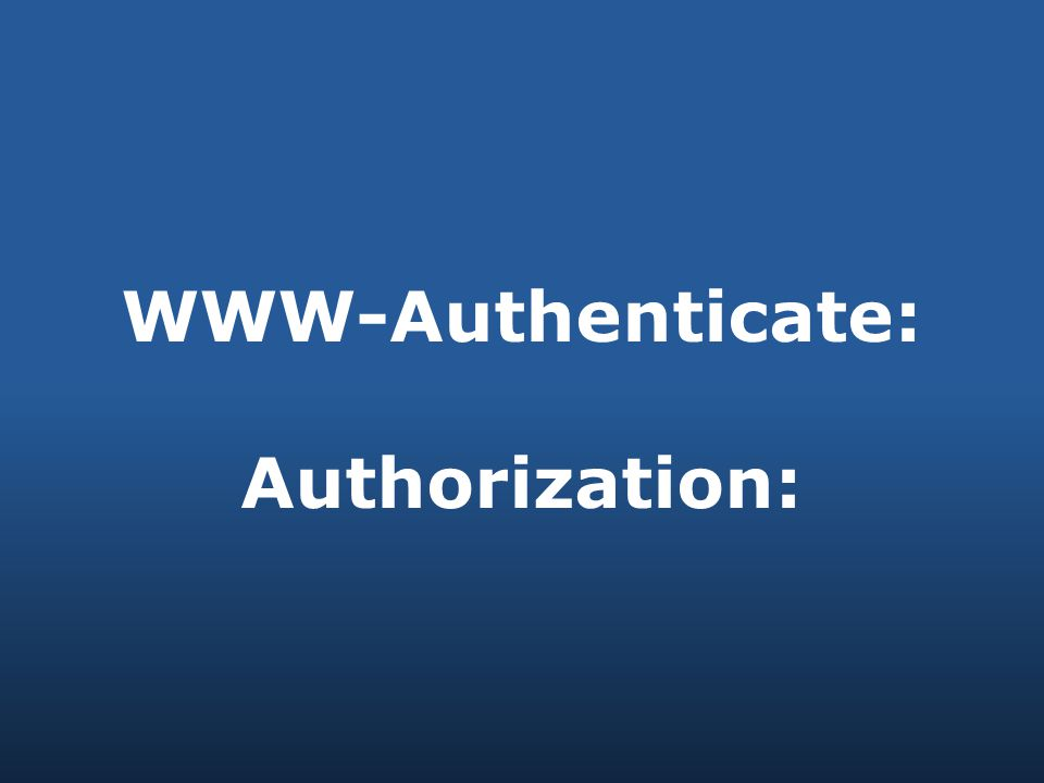 WWW-Authenticate: Authorization: