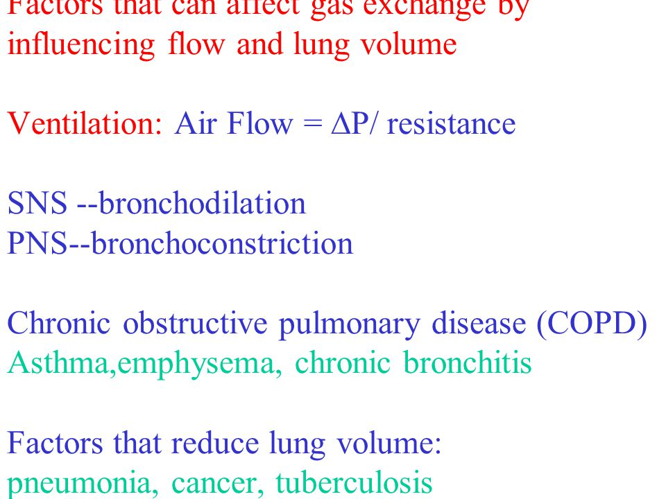 Factors that can affect gas exchange by influencing flow and lung volume Ventilation: Air Flow = P/ resistance SNS --bronchodilation PNS--bronchoconstriction Chronic obstructive pulmonary disease (COPD) Asthma,emphysema, chronic bronchitis Factors that reduce lung volume: pneumonia, cancer, tuberculosis