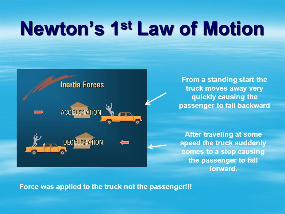 Newtons 1 st Law of Motion If there is NO net force acting on an object then If there is NO net force acting on an object then An object at rest will