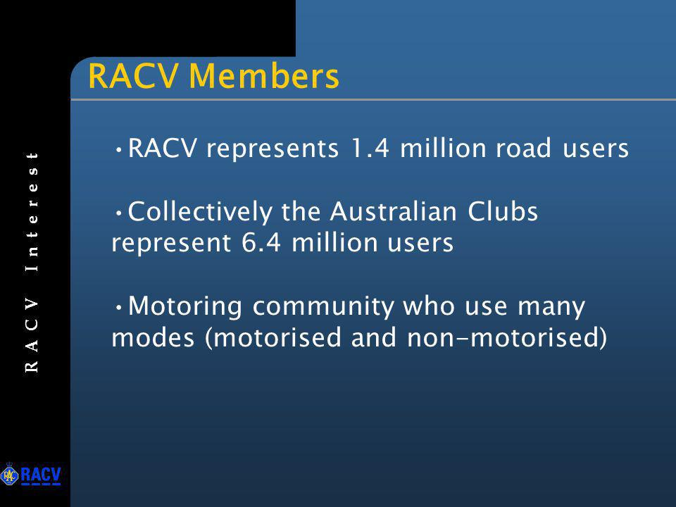 RACV Members RACV represents 1.4 million road users Collectively the Australian Clubs represent 6.4 million users Motoring community who use many mode