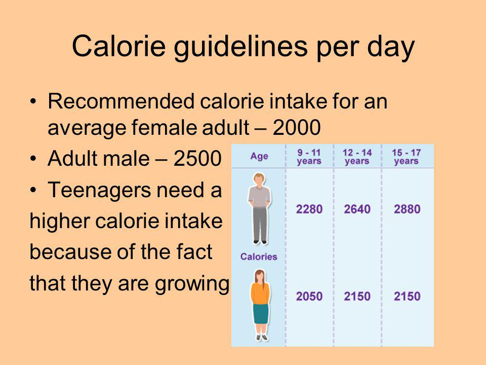 Calorie guidelines per day Recommended calorie intake for an average female adult – 2000 Adult male – 2500 Teenagers need a higher calorie intake because of the fact that they are growing