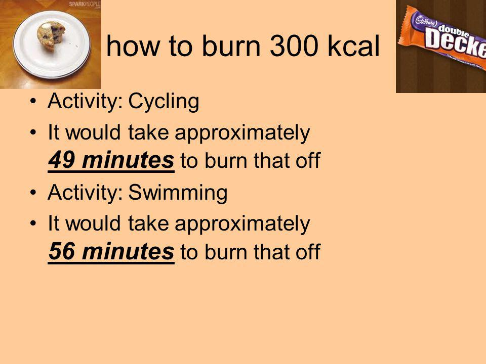 how to burn 300 kcal Activity: Cycling It would take approximately 49 minutes to burn that off Activity: Swimming It would take approximately 56 minut