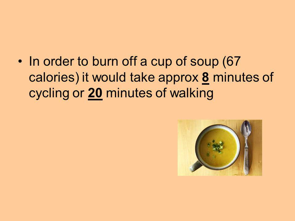 In order to burn off a cup of soup (67 calories) it would take approx 8 minutes of cycling or 20 minutes of walking