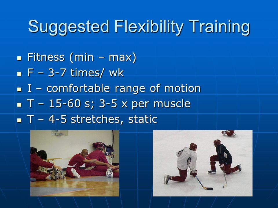 Suggested Flexibility Training Fitness (min – max) Fitness (min – max) F – 3-7 times/ wk F – 3-7 times/ wk I – comfortable range of motion I – comfort