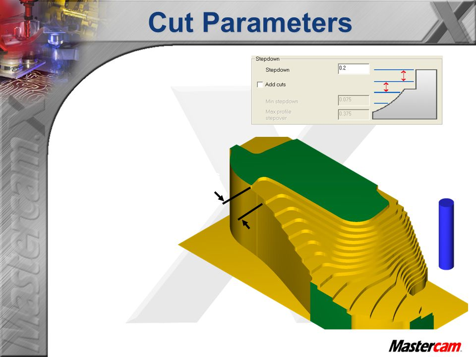 Cut Parameters Notice the scallop thickness