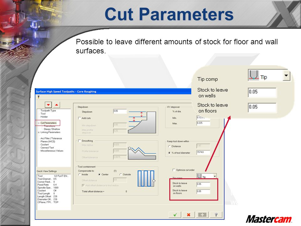 Cut Parameters Possible to leave different amounts of stock for floor and wall surfaces.