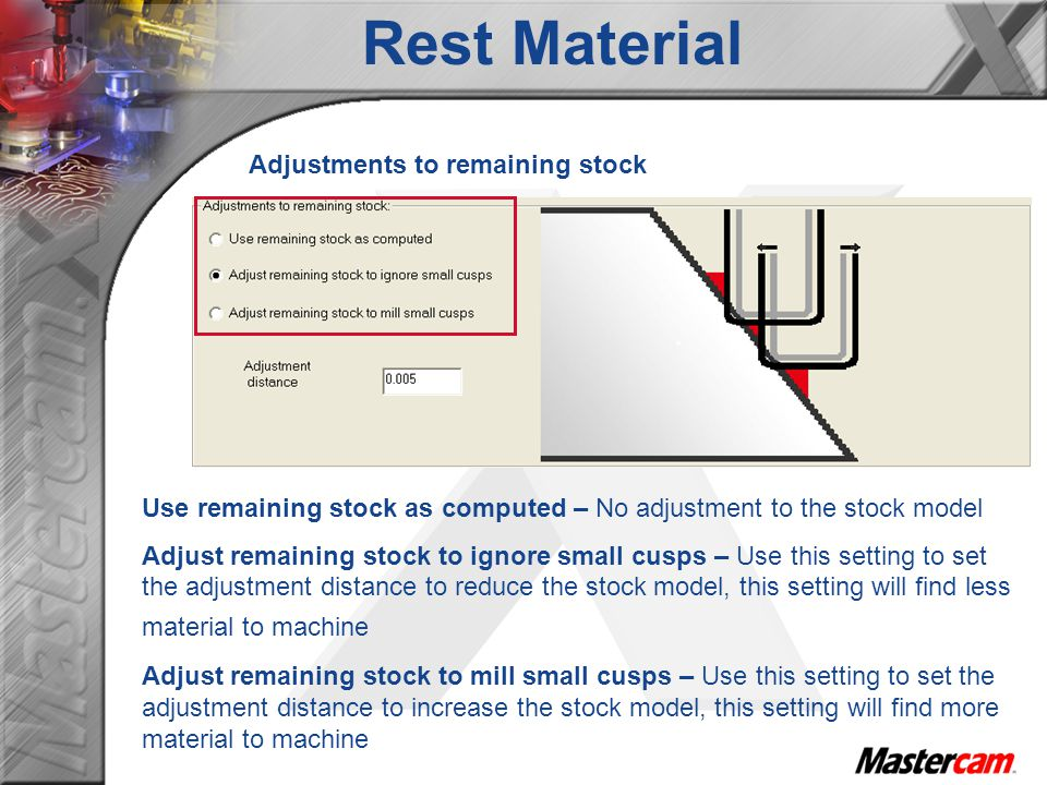 Adjustments to remaining stock Use remaining stock as computed – No adjustment to the stock model Adjust remaining stock to ignore small cusps – Use t