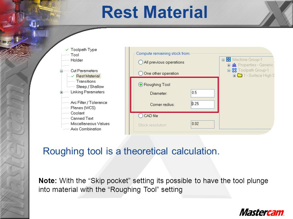 Roughing tool is a theoretical calculation.
