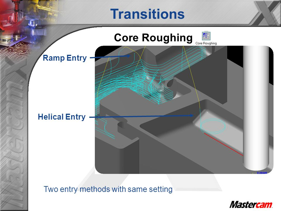 Core Roughing Ramp Entry Helical Entry Two entry methods with same setting Transitions