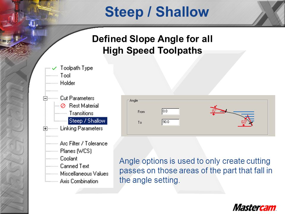 Defined Slope Angle for all High Speed Toolpaths Steep / Shallow Angle options is used to only create cutting passes on those areas of the part that fall in the angle setting.