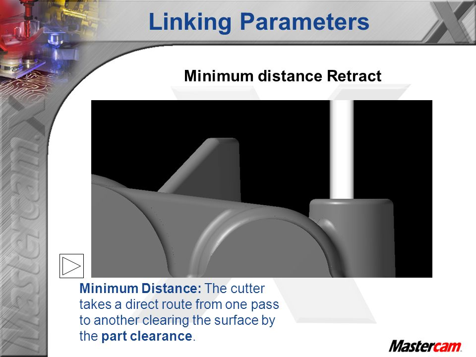 Minimum distance Retract Minimum Distance: The cutter takes a direct route from one pass to another clearing the surface by the part clearance. Linkin