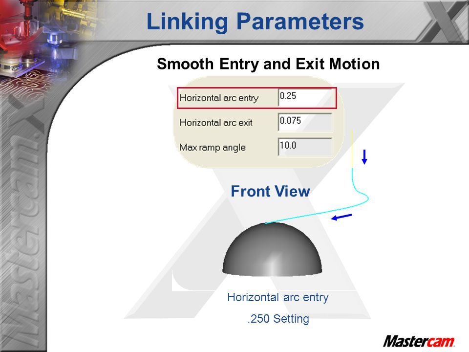 Front View Horizontal arc entry.250 Setting Smooth Entry and Exit Motion Linking Parameters