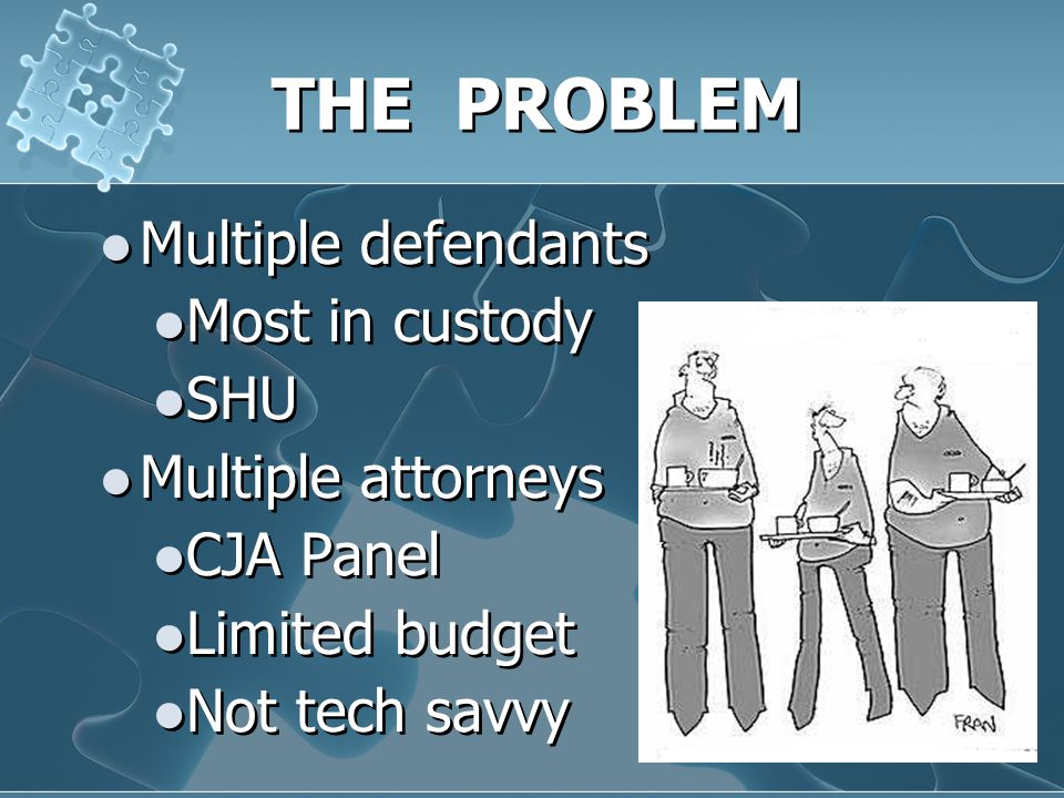 THE PROBLEM Multiple defendants Most in custody SHU Multiple attorneys CJA Panel Limited budget Not tech savvy Multiple defendants Most in custody SHU