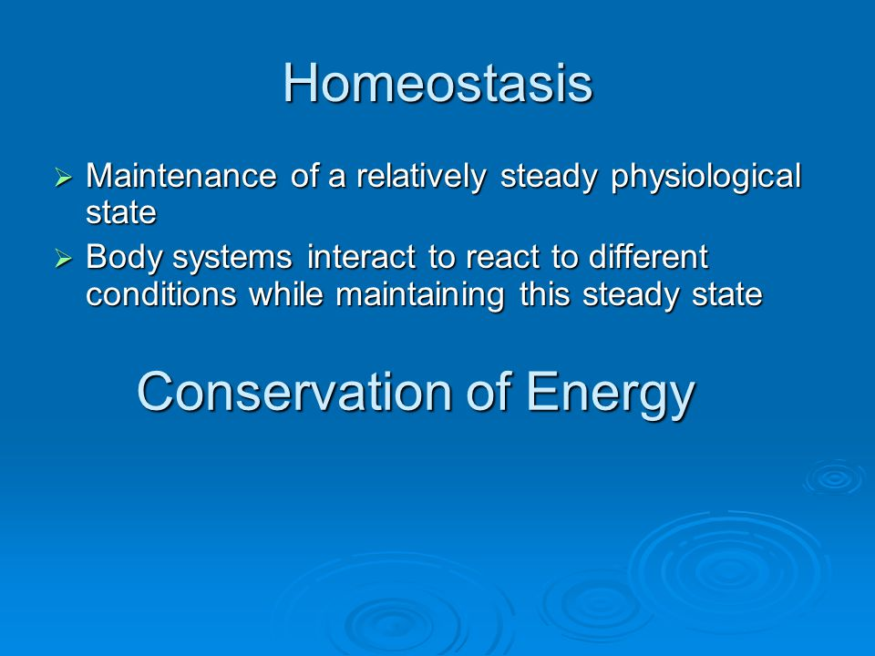 Homeostasis Maintenance of a relatively steady physiological state Maintenance of a relatively steady physiological state Body systems interact to react to different conditions while maintaining this steady state Body systems interact to react to different conditions while maintaining this steady state Conservation of Energy