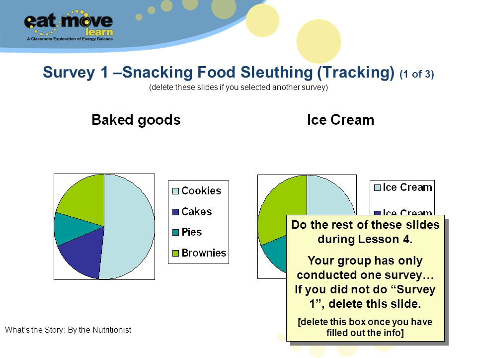 Whats the Story: By the Nutritionist 7 Survey 1 –Snacking Food Sleuthing (Tracking) (1 of 3) (delete these slides if you selected another survey) Do t