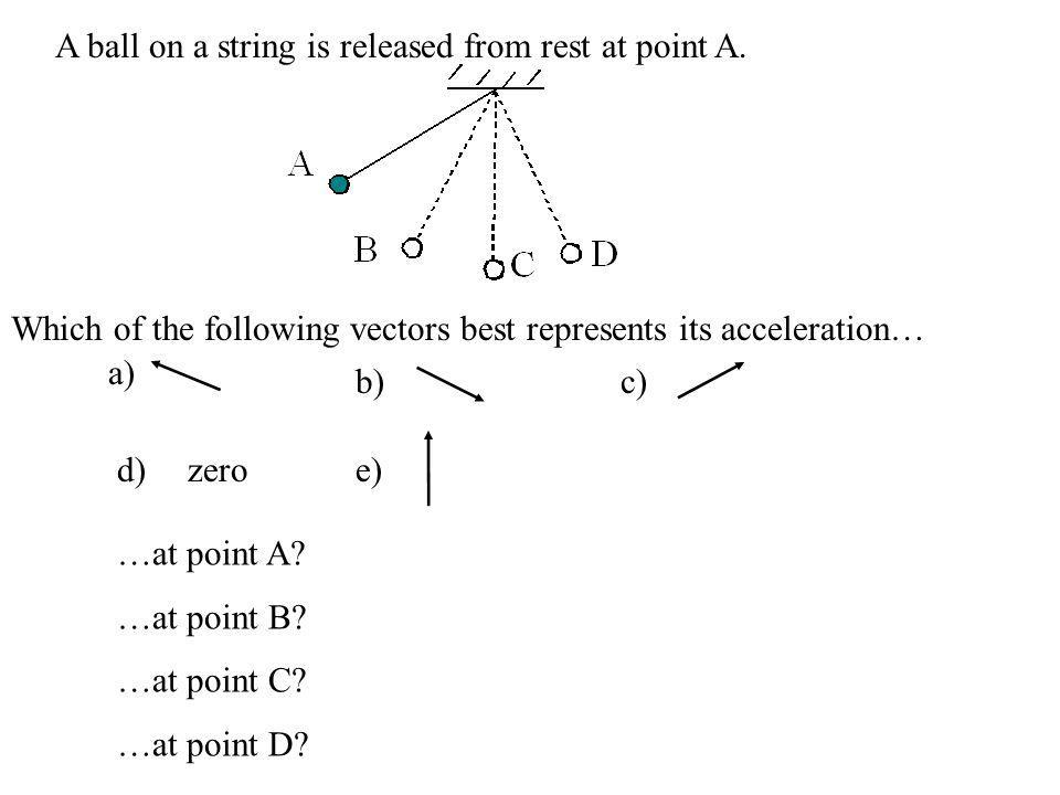A ball on a string is released from rest at point A. Which of the following vectors best represents its acceleration… …at point A? …at point B? …at po