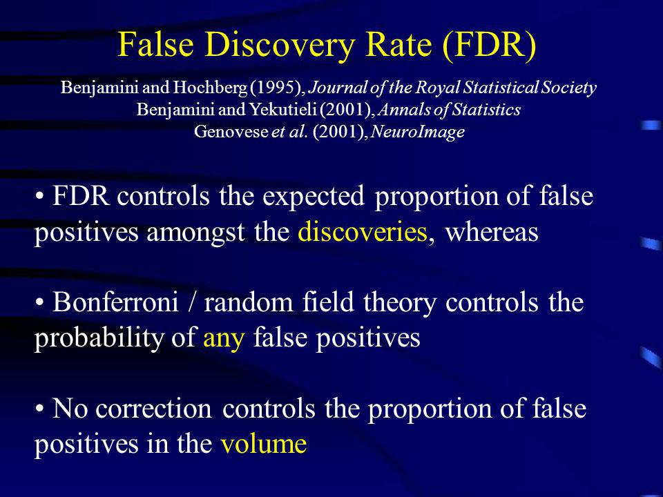 False Discovery Rate (FDR) Benjamini and Hochberg (1995), Journal of the Royal Statistical Society Benjamini and Yekutieli (2001), Annals of Statistic