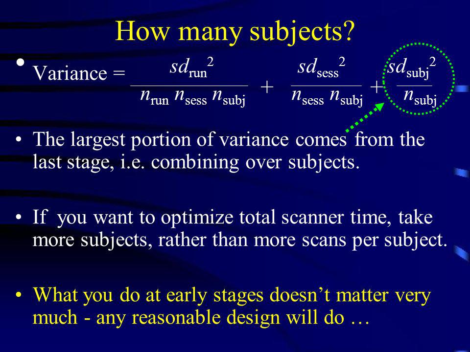 How many subjects? Variance = sd run 2 sd sess 2 sd subj 2 n run n sess n subj n sess n subj n subj The largest portion of variance comes from the las