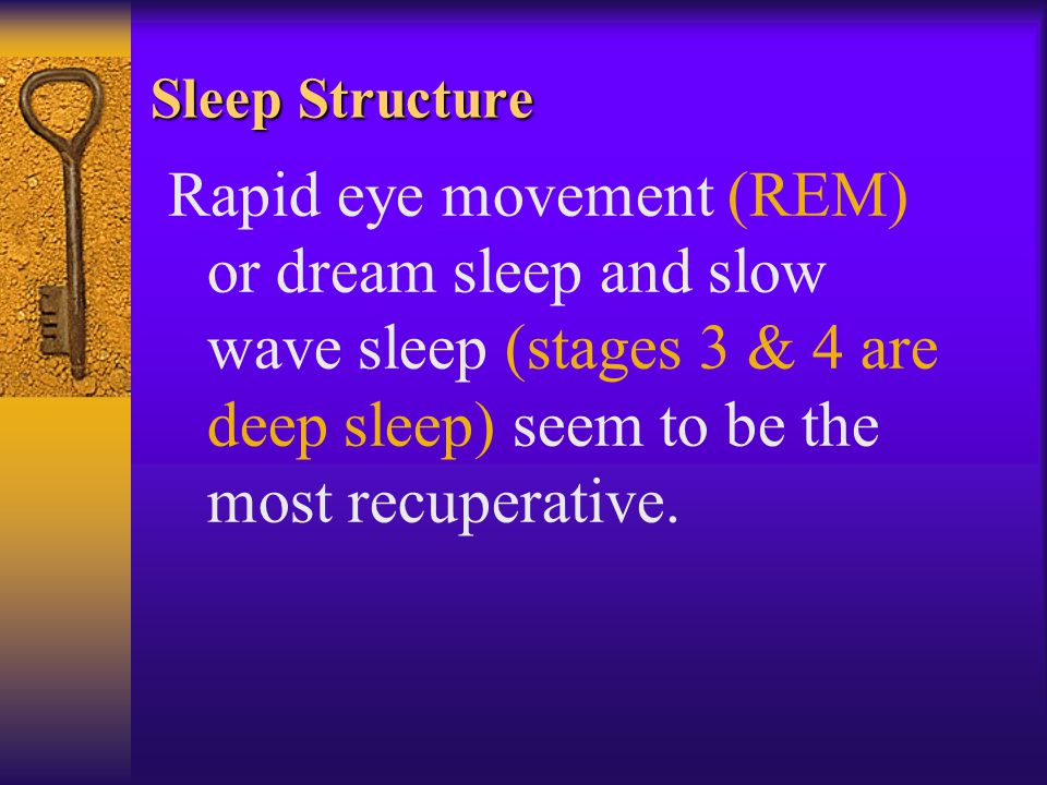 Sleep Structure Rapid eye movement (REM) or dream sleep and slow wave sleep (stages 3 & 4 are deep sleep) seem to be the most recuperative.