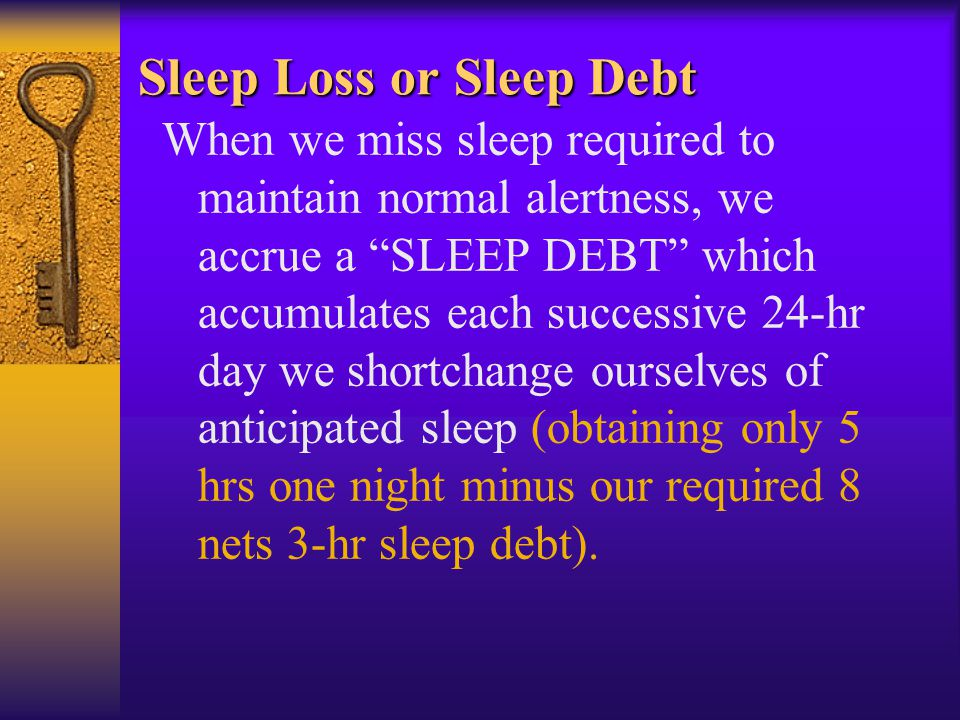 Sleep Loss or Sleep Debt When we miss sleep required to maintain normal alertness, we accrue a SLEEP DEBT which accumulates each successive 24-hr day we shortchange ourselves of anticipated sleep (obtaining only 5 hrs one night minus our required 8 nets 3-hr sleep debt).