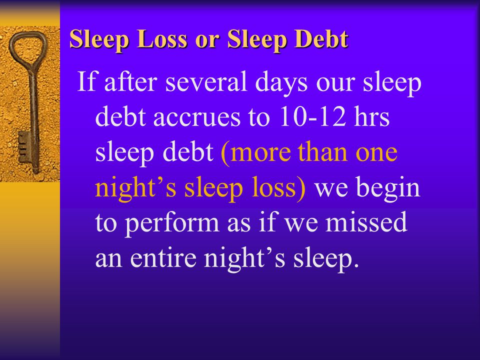 Sleep Loss or Sleep Debt If after several days our sleep debt accrues to 10-12 hrs sleep debt (more than one nights sleep loss) we begin to perform as if we missed an entire nights sleep.