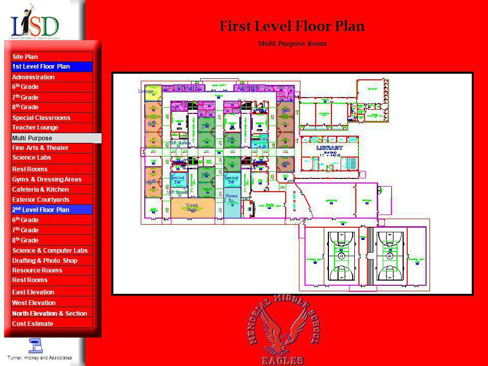 First Level Floor Plan Multi Purpose Room Turner, Hickey and Associates 7 th 8 th Special Ed. ADMIN. 6 th Special Ed. Wood Shop Home Ec. Lounge M.P. R