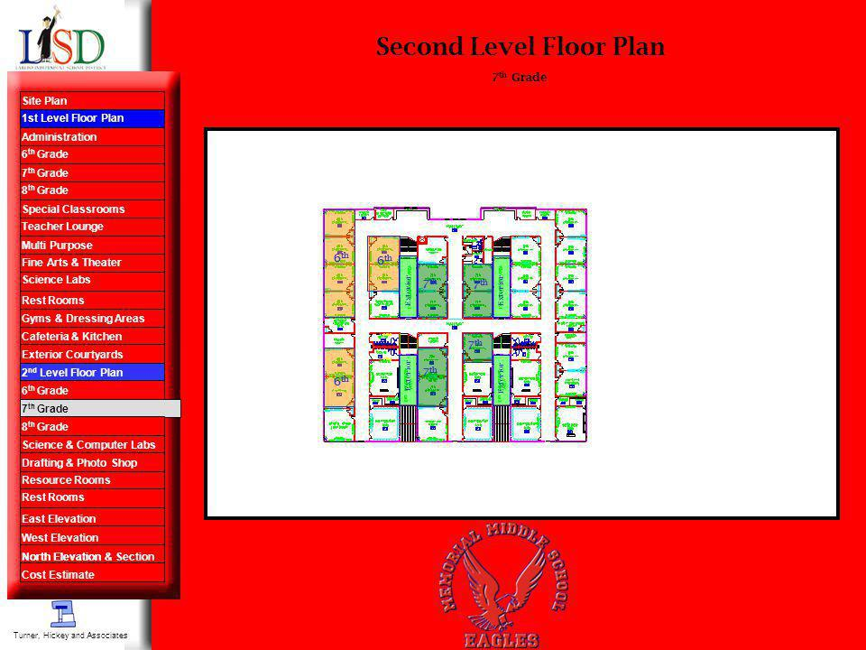 Second Level Floor Plan 7 th Grade Turner, Hickey and Associates 6 th 7 th Site Plan 1st Level Floor Plan Administration 6 th Grade 7 th Grade 8 th Gr