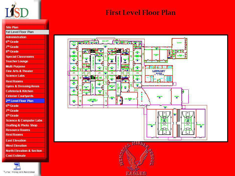 First Level Floor Plan Turner, Hickey and Associates Site Plan 1st Level Floor Plan Administration 6 th Grade 7 th Grade 8 th Grade Special Classrooms