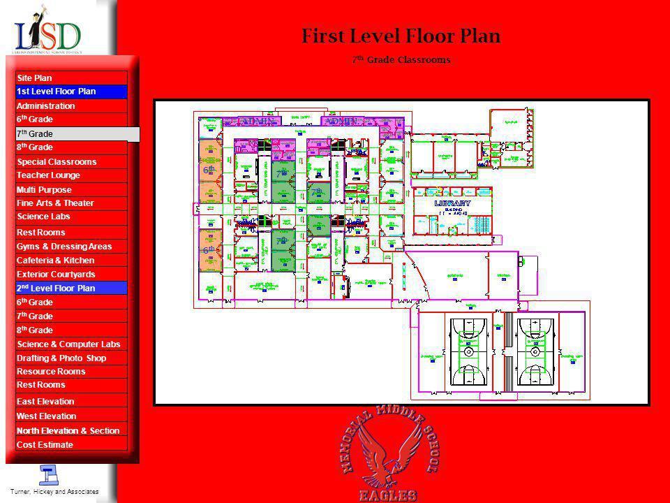 First Level Floor Plan 6 th 7 th Grade Classrooms 7 th ADMIN. Turner, Hickey and Associates Site Plan 1st Level Floor Plan Administration 6 th Grade 7